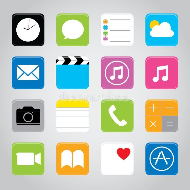 Ejemplo elegante del vector del icono del botón de la aplicación móvil del teléfono de la pantalla táctil ilustración del vector