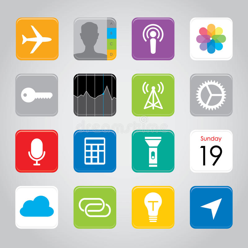 Ejemplo elegante del vector del icono del botón de la aplicación móvil del teléfono de la pantalla táctil stock de ilustración