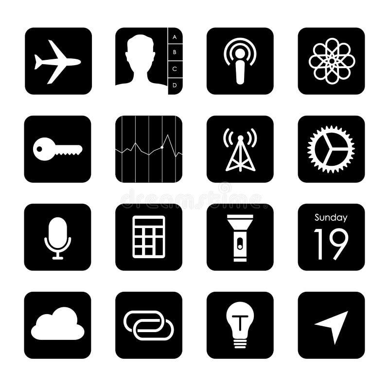 Ejemplo elegante del vector del icono del botón de la aplicación móvil del teléfono de la pantalla táctil libre illustration