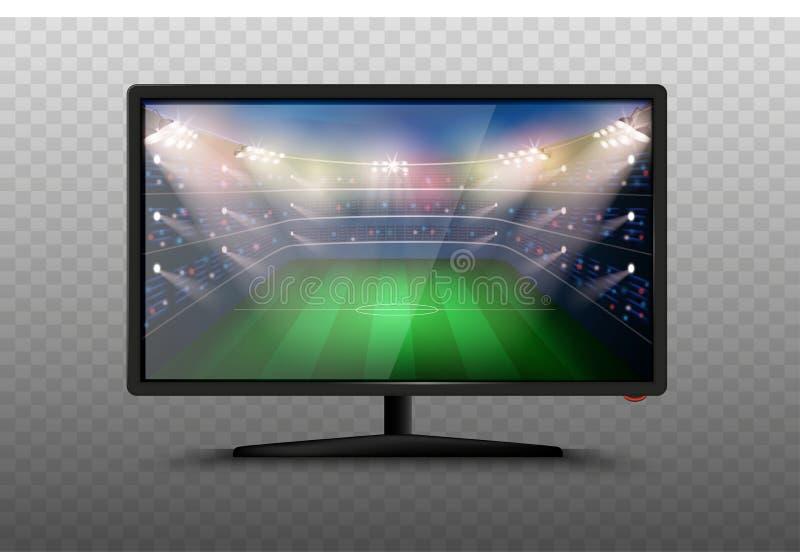 Ejemplo elegante moderno del vector del aparato de TV 3d Iconos realistas aislados en fondo transparente Pantalla del plasma LCD  stock de ilustración