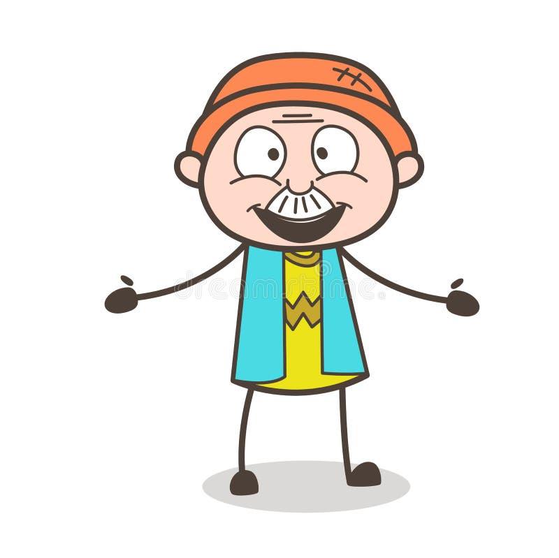 Ejemplo emocionado del vector de la expresión de la cara del viejo hombre de la historieta libre illustration