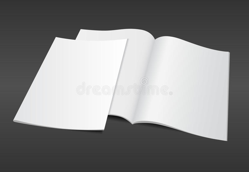 ejemplo en blanco de la revista en fondo oscuro stock de ilustración