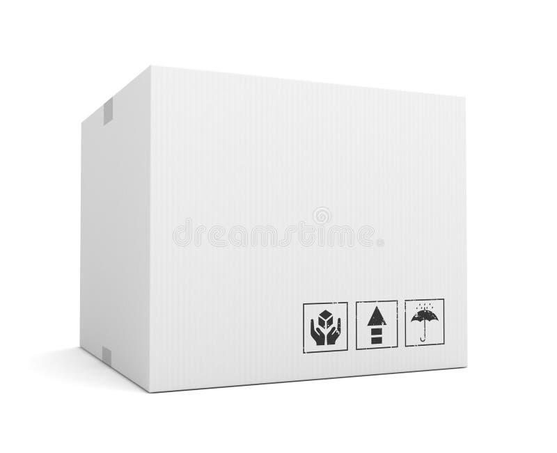 Ejemplo en blanco del concepto 3d de la caja de cartón stock de ilustración