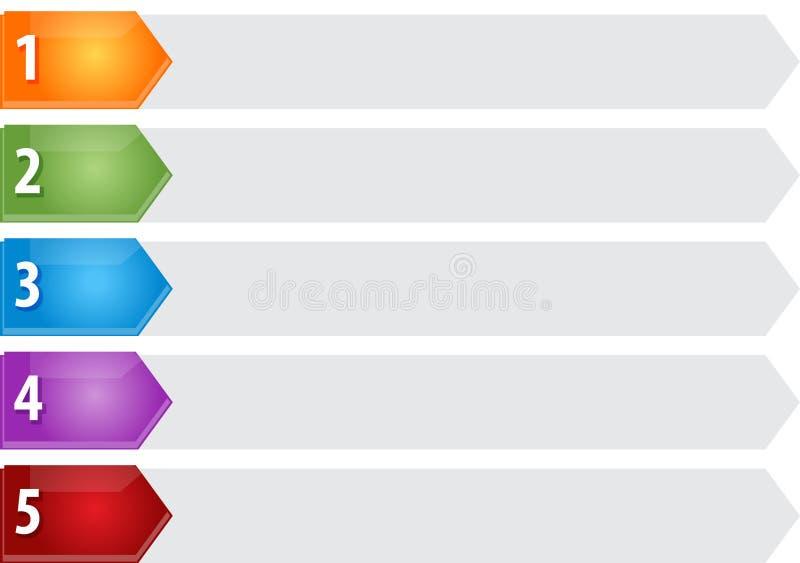 Ejemplo en blanco del diagrama del negocio de la lista cinco acentuados ilustración del vector