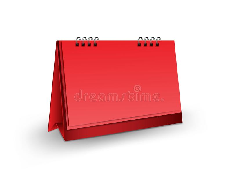 Ejemplo en blanco del vector de la maqueta del calendario de escritorio 3d, maqueta realista vertical para el diseño de la planti ilustración del vector