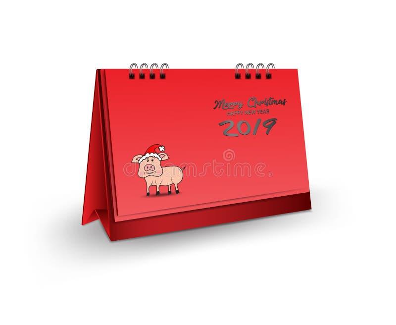 Ejemplo en blanco del vector de la maqueta del calendario de escritorio 3d, maqueta realista vertical para el diseño de la planti stock de ilustración