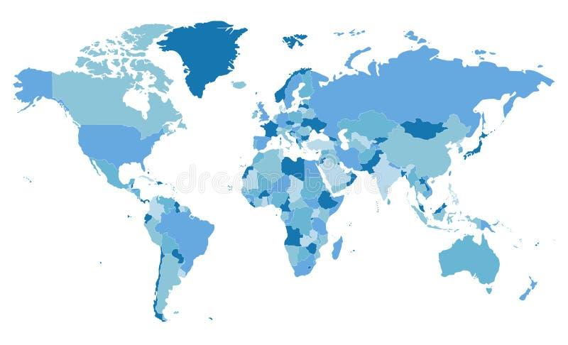 Ejemplo en blanco político del vector del mapa del mundo con diversos tonos del azul para cada país ilustración del vector