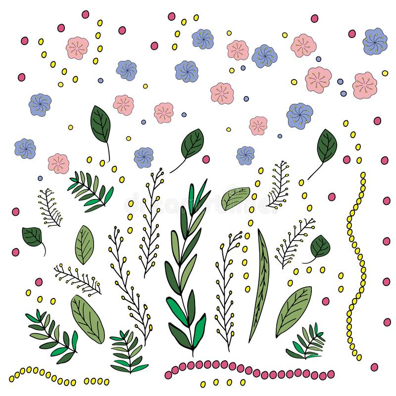 Ejemplo en el estilo de garabatear Gr?fico de la mano Rosa abstracto, flores amarillas, azules Diseño lindo para la decoración ilustración del vector