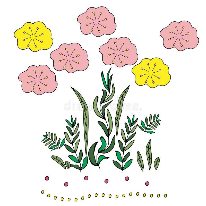 Ejemplo en el estilo de garabatear Gr?fico de la mano Rosa abstracto, flores amarillas, azules Dise?o lindo para la decoraci?n ilustración del vector