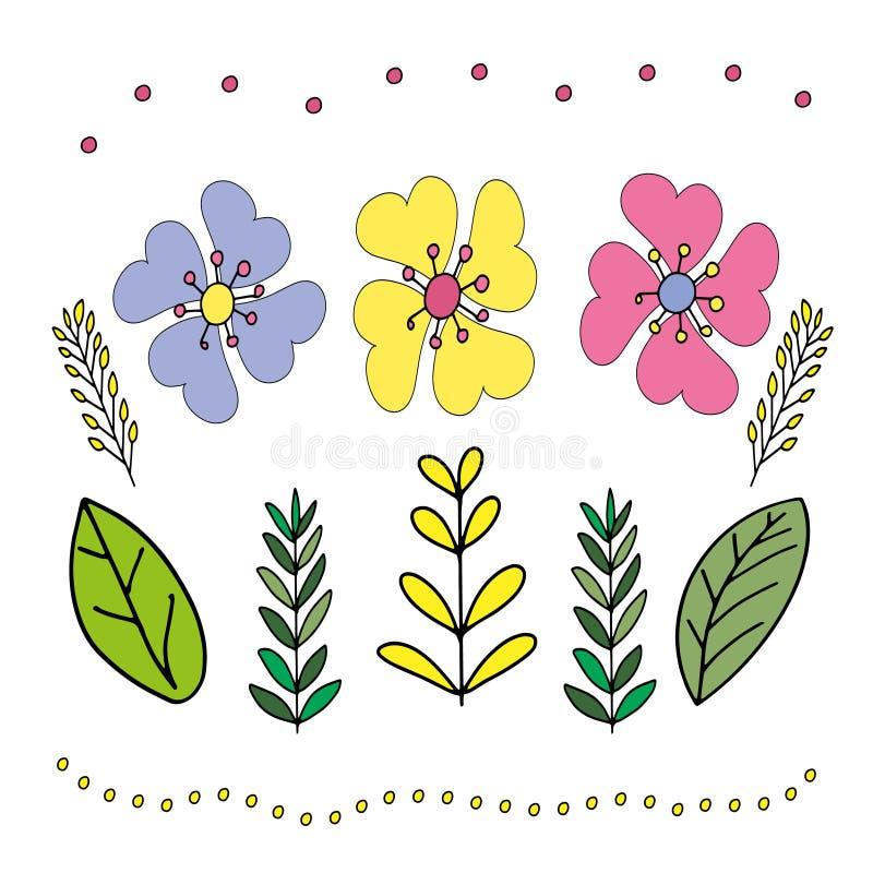Ejemplo en el estilo de garabatear Gr?fico de la mano Rosa abstracto, flores amarillas, azules Dise?o lindo para la decoraci?n libre illustration