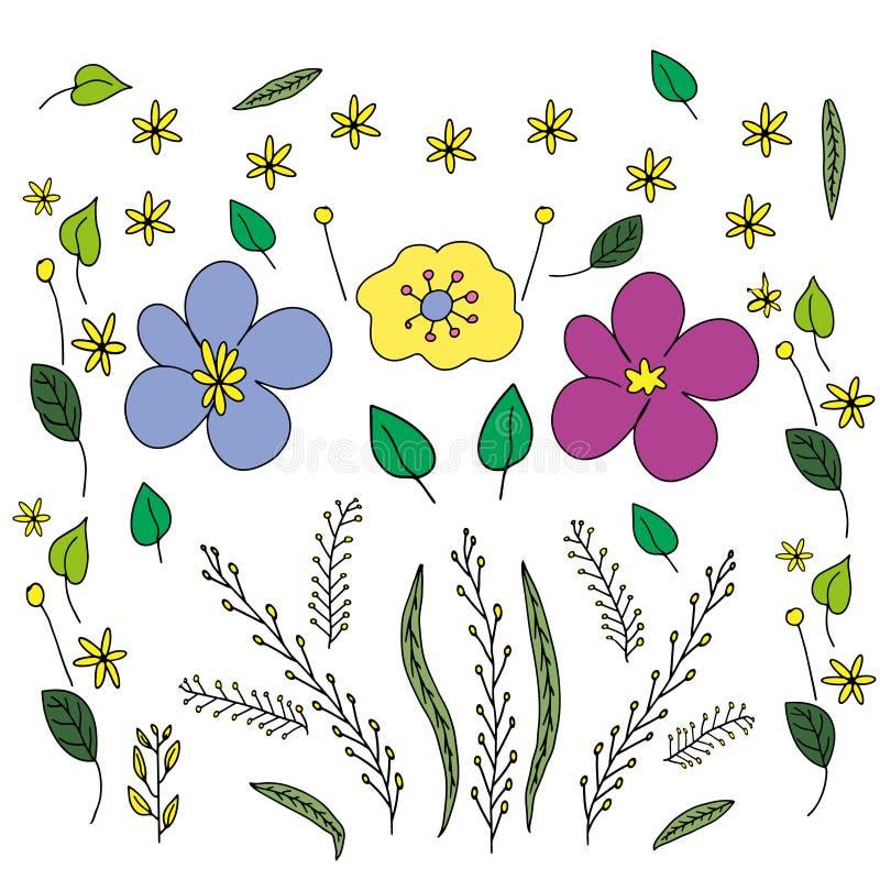 Ejemplo en el estilo de garabatear Gr?fico de la mano Rosa abstracto, flores amarillas, azules Dise?o lindo para la decoraci?n stock de ilustración