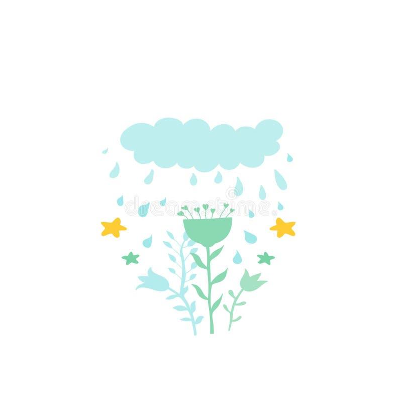 Ejemplo en el estilo de la historieta de la nube con gotas y flores de lluvia Fondo decorativo para la materia textil, ropa, efec ilustración del vector