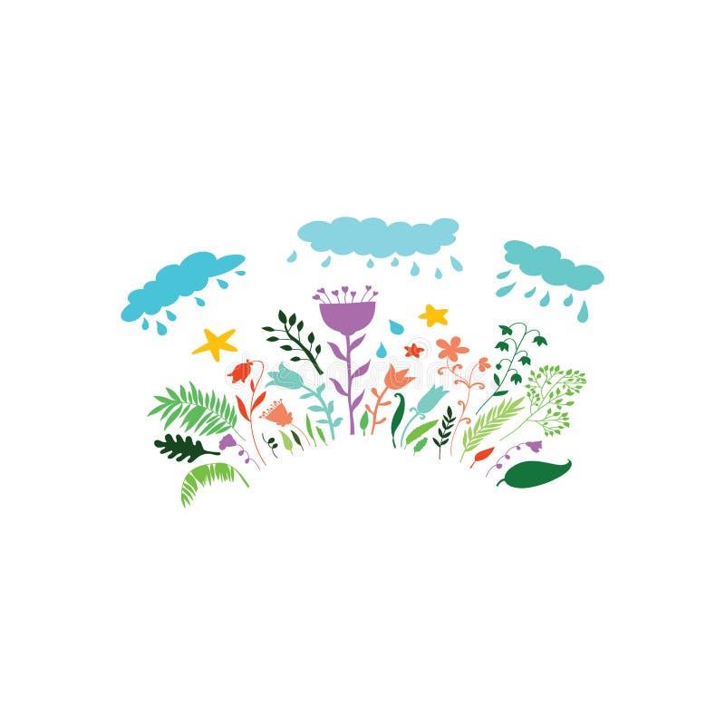 Ejemplo en el estilo de la historieta de nubes con gotas y flores de lluvia Fondo decorativo para la materia textil, ropa, efecto stock de ilustración