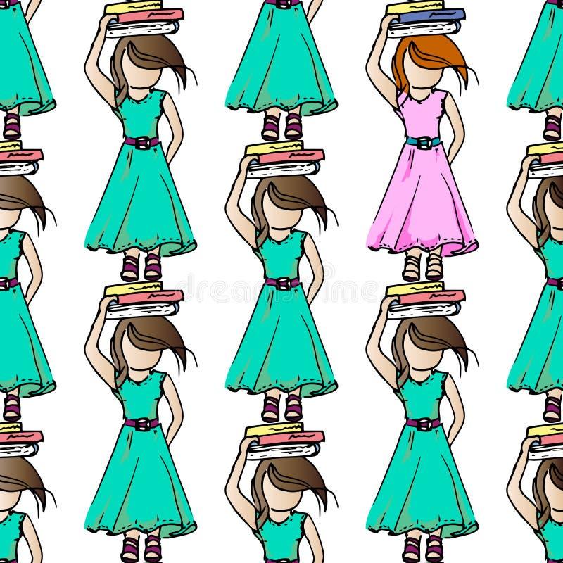 Ejemplo en el tema del ocio Relájese el vacaciones Buenas muchachas del entretenimiento Modelo inconsútil stock de ilustración