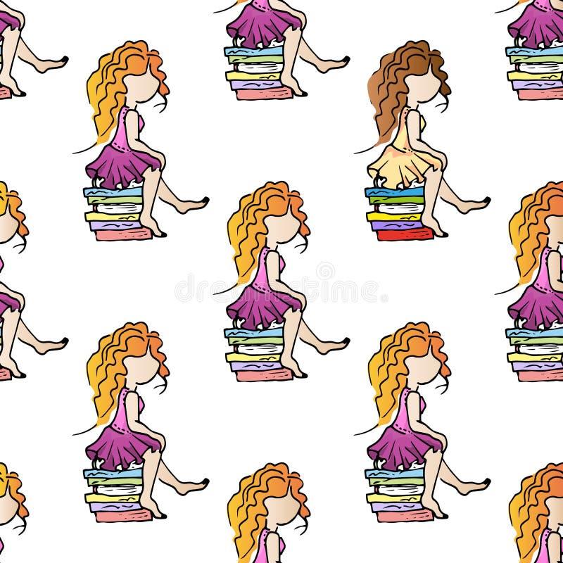 Ejemplo en el tema del ocio Relájese el vacaciones Buenas muchachas del entretenimiento Modelo inconsútil ilustración del vector
