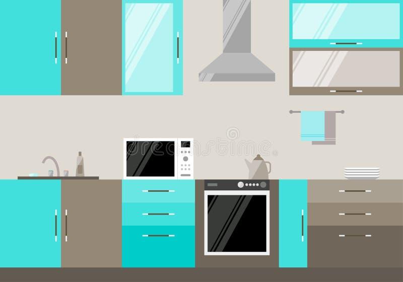 Ejemplo en estilo plano de moda con el interior compuesto azul y beige de la cocina para el uso en diseño stock de ilustración