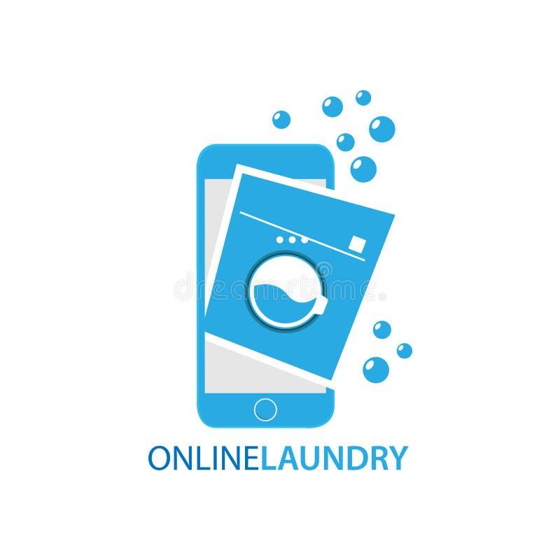 Ejemplo en línea del vector del concepto de los servicios de lavadero ilustración del vector