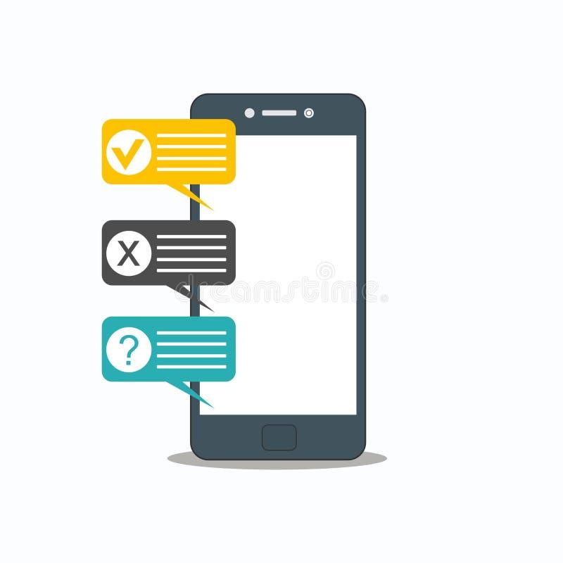 Ejemplo en línea del vector del smartphone de la encuesta sobre la forma ilustración del vector