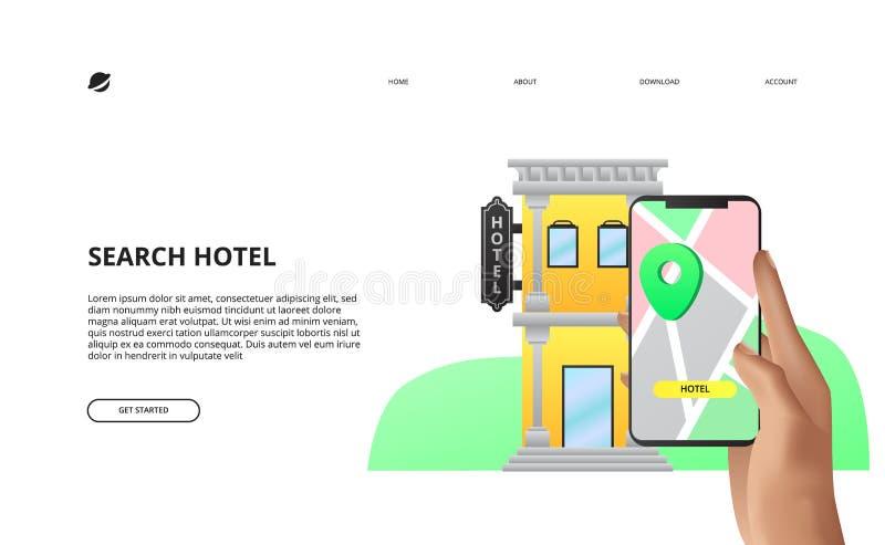 Ejemplo en línea móvil del concepto de la reserva de hotel de la reservación del app ilustración del vector