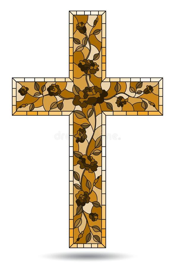 Ejemplo en temas religiosos, vitral del vitral en la forma de una cruz cristiana adornada con isola de las rosas libre illustration