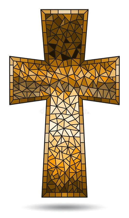 Ejemplo en temas religiosos, vitral del vitral en la forma de una cruz cristiana marrón, aislada en b blanco libre illustration