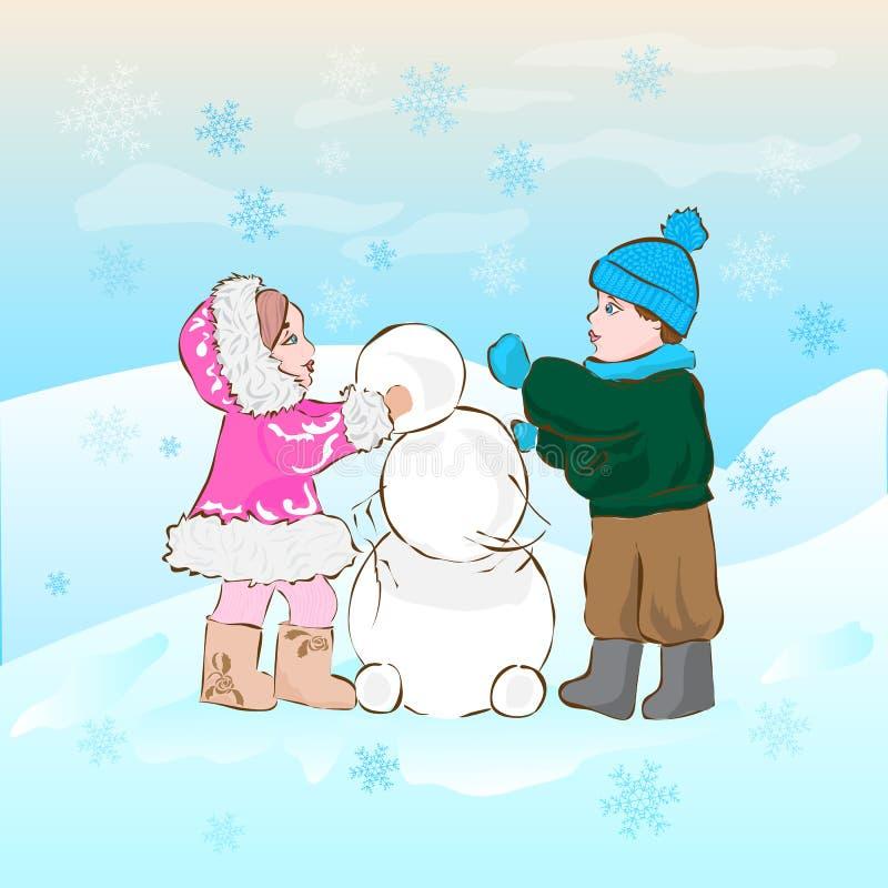Ejemplo en un tema del invierno Los niños hacen un muñeco de nieve ilustración del vector