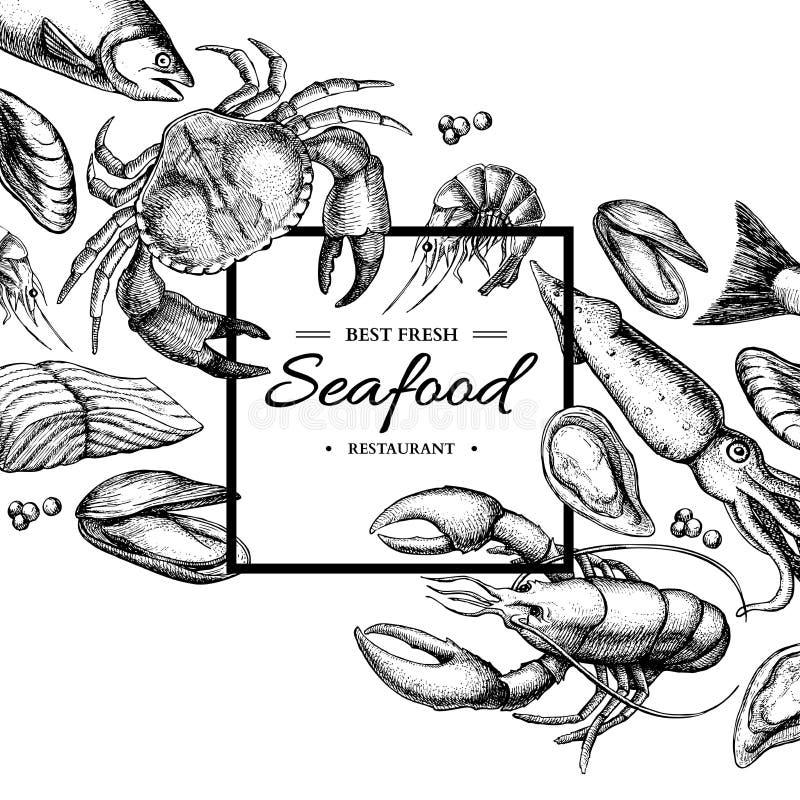 Ejemplo enmarcado vector dibujado mano de los mariscos Cangrejo, langosta, camarón, ostra, mejillón, caviar y calamar stock de ilustración
