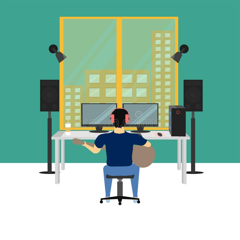 Ejemplo eps10 del vector del sitio del estudio de la música ilustración del vector