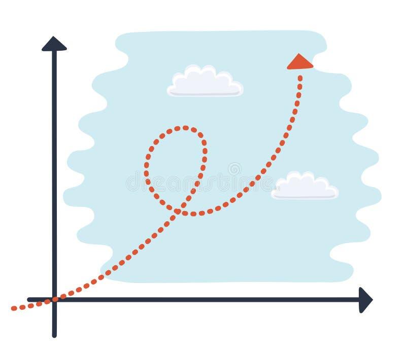 Ejemplo escaso del vector de a de un personaje de dibujos animados genérico encima de una carta de crecimiento exponencial ilustración del vector