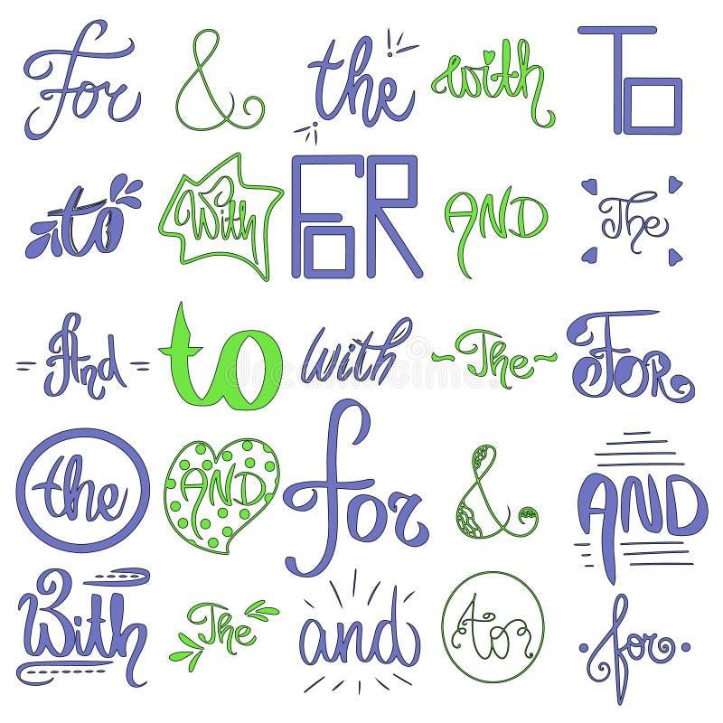Ejemplo escrito mano linda El vector bosquejó signos '&' y lemas Detailes caligráficos decorativos Colores azules, verdes libre illustration