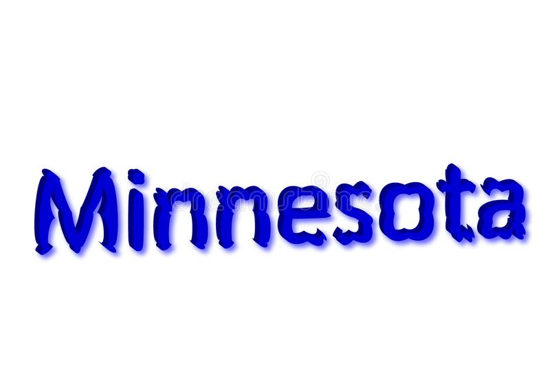 Ejemplo escrito Minnesota, estado americano aislado en un whi ilustración del vector