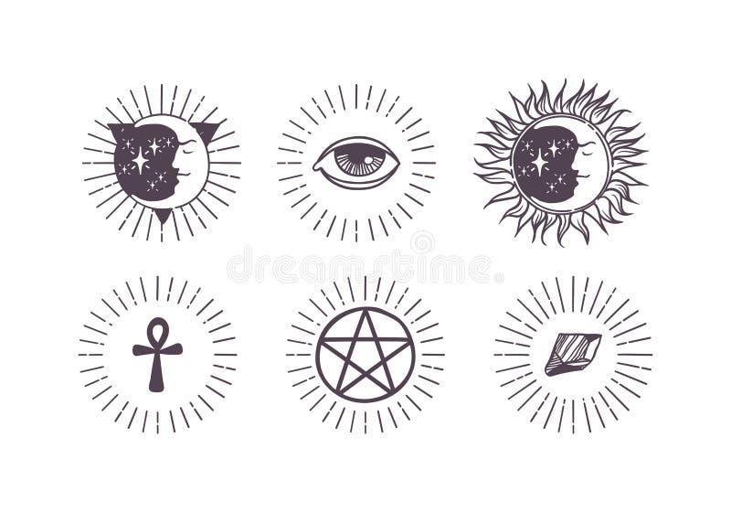 Ejemplo esotérico del vector de los símbolos stock de ilustración