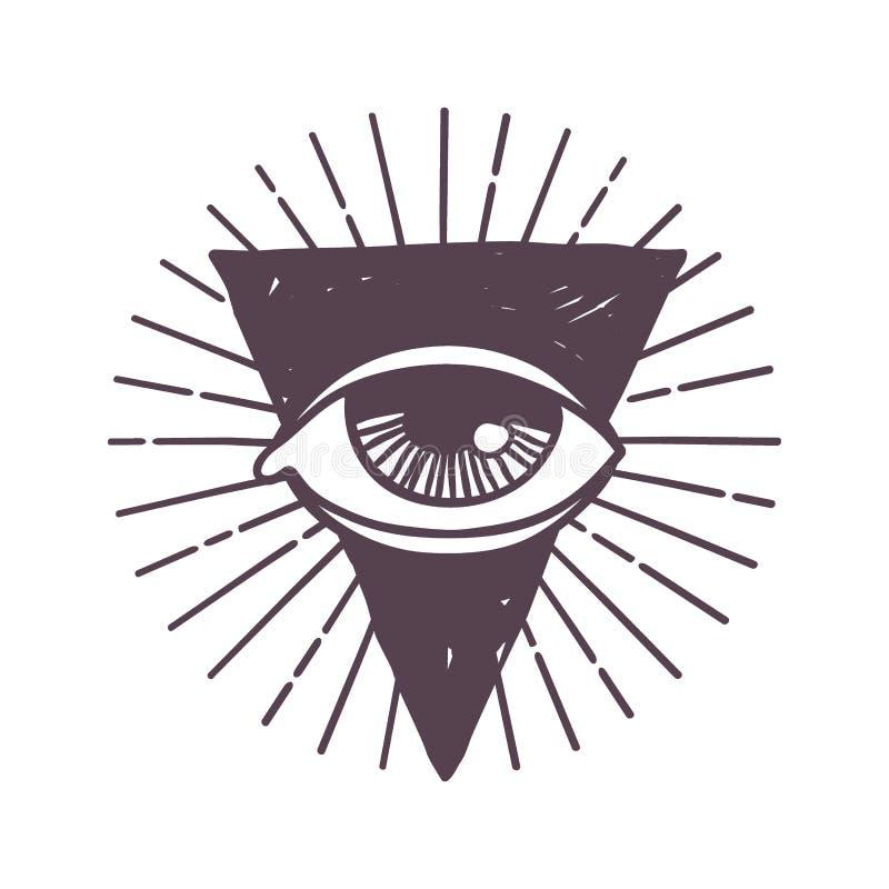Ejemplo esotérico del vector del símbolo de la runa del ojo ilustración del vector