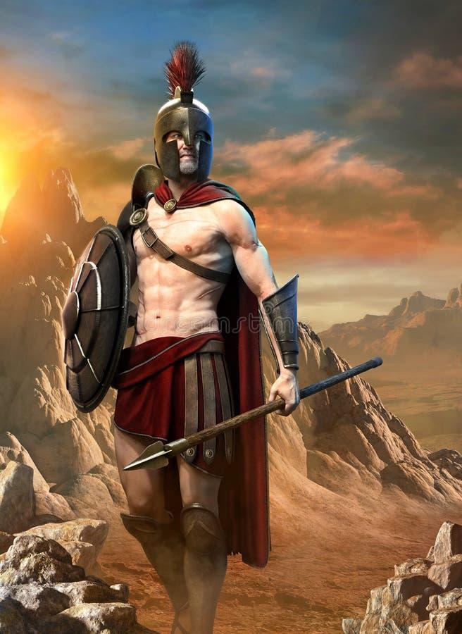 Ejemplo espartano de la escena 3D del guerrero ilustración del vector