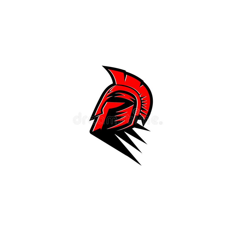 Ejemplo espartano rojo y negro del vector del casco del guerrero stock de ilustración