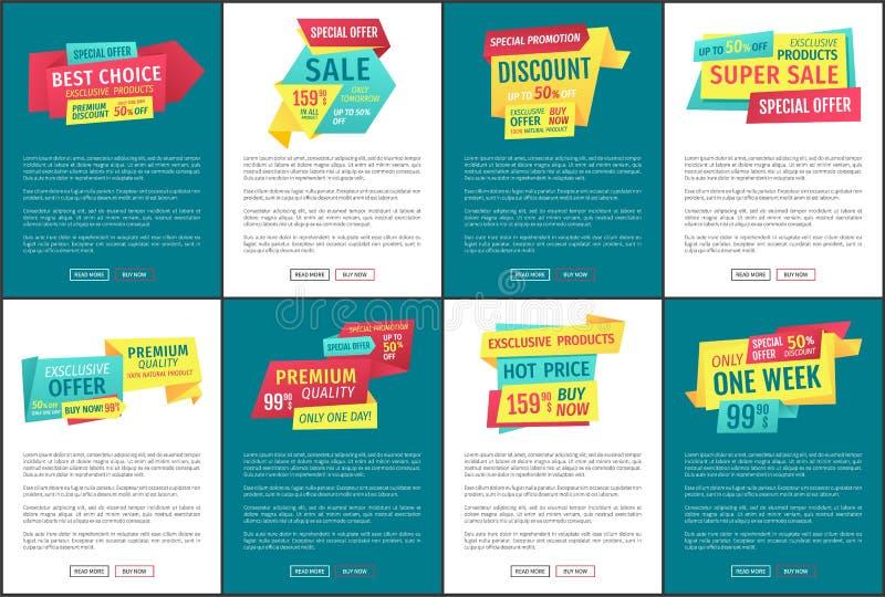 Ejemplo especial del vector del sistema de los carteles de la promoción stock de ilustración