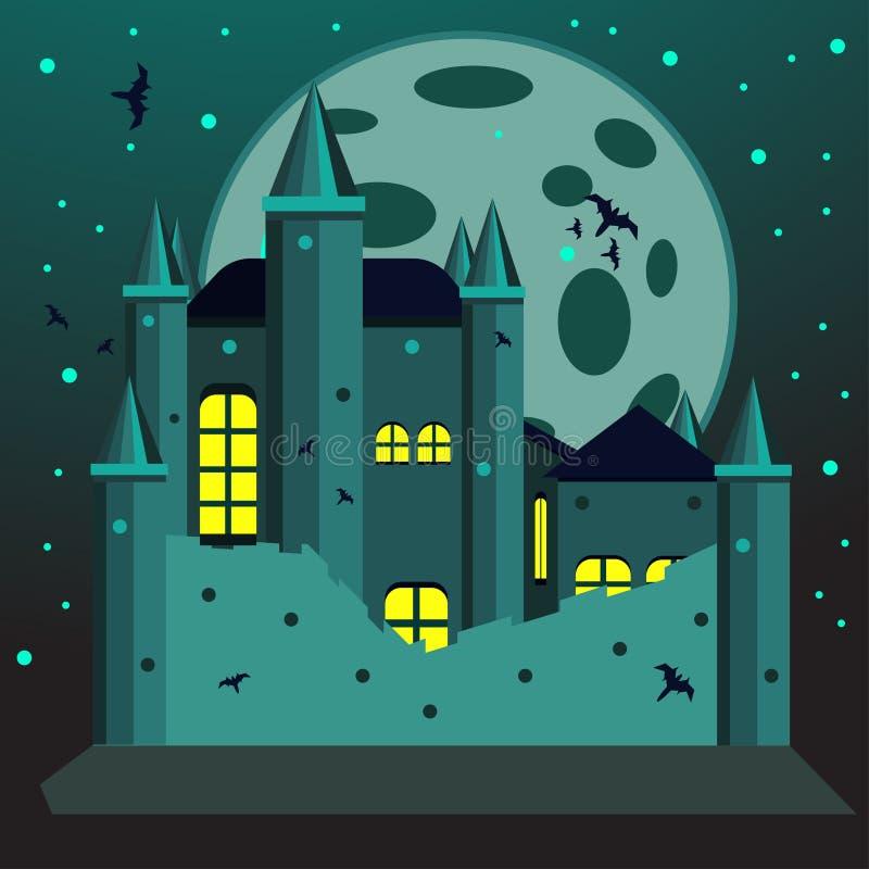 Ejemplo espeluznante del castillo para la tarjeta de la invitación de Halloween ilustración del vector