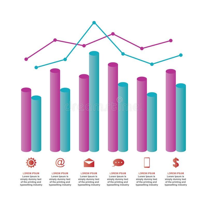 Ejemplo estadístico de Infographic del negocio del diagrama del gráfico de la carta de barra libre illustration