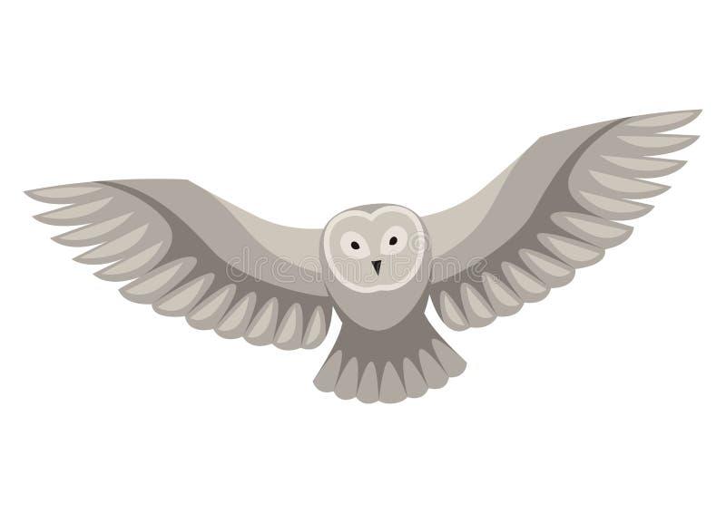 Ejemplo estilizado del búho Animal del bosque del arbolado en el fondo blanco ilustración del vector