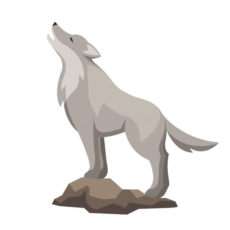 Ejemplo estilizado del lobo Animal del bosque del arbolado en el fondo blanco ilustración del vector