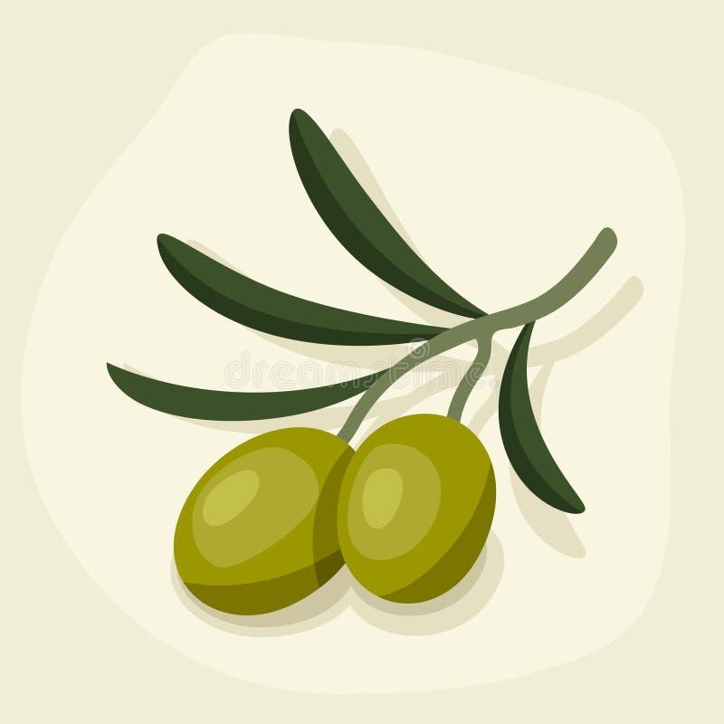 Ejemplo estilizado del vector de la aceituna madura fresca stock de ilustración