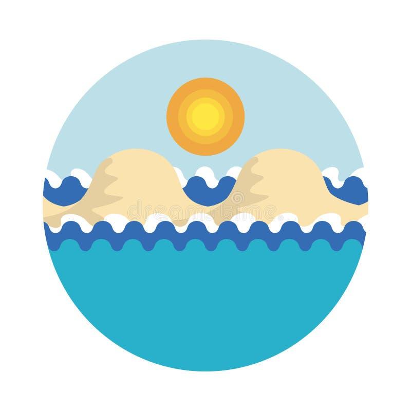 Ejemplo estilizado del vector del mar con las ondas, con islan arenoso stock de ilustración