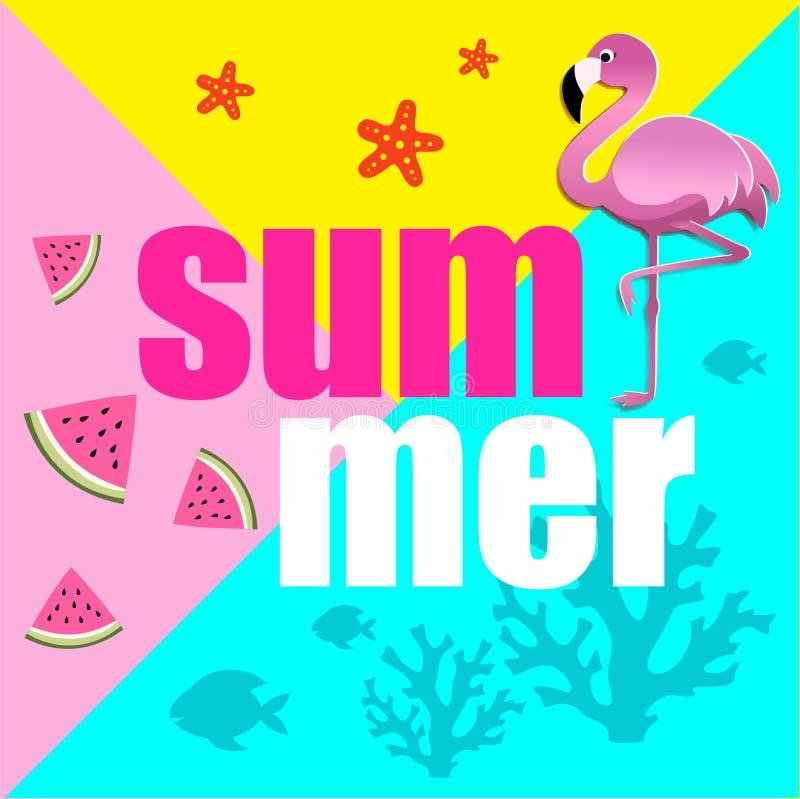Ejemplo estilizado del verano con el flamenco, las rebanadas de la sandía y los corales rosados de papel ilustración del vector