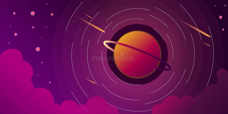 Ejemplo estrellado del vector de las nubes del cielo del planeta de la galaxia del espacio ilustración del vector