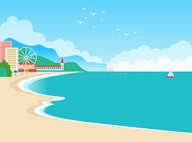 Ejemplo europeo del vector del cartel del verano del centro turístico ilustración del vector