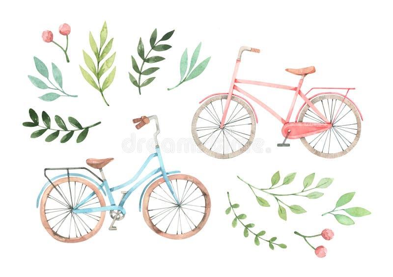 Ejemplo exhausto de la acuarela de la mano - bici romántica con los elementos florales Bicicleta de la ciudad Amsterdam Perfeccio stock de ilustración