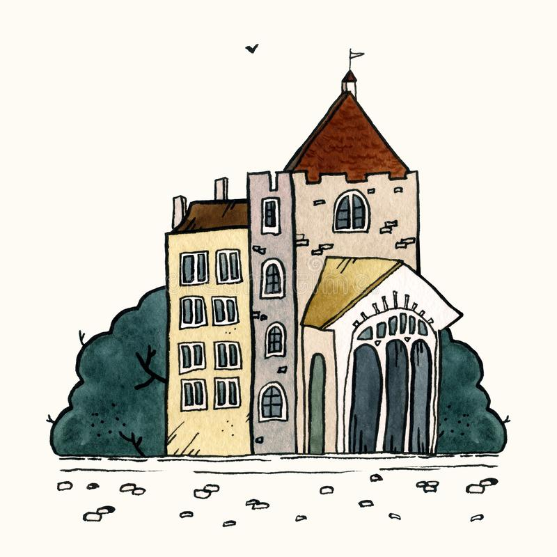 Ejemplo exhausto de la acuarela de la vieja mano de la ciudad del paisaje urbano Viejo paisaje de la ciudad con la torre, casas,  libre illustration