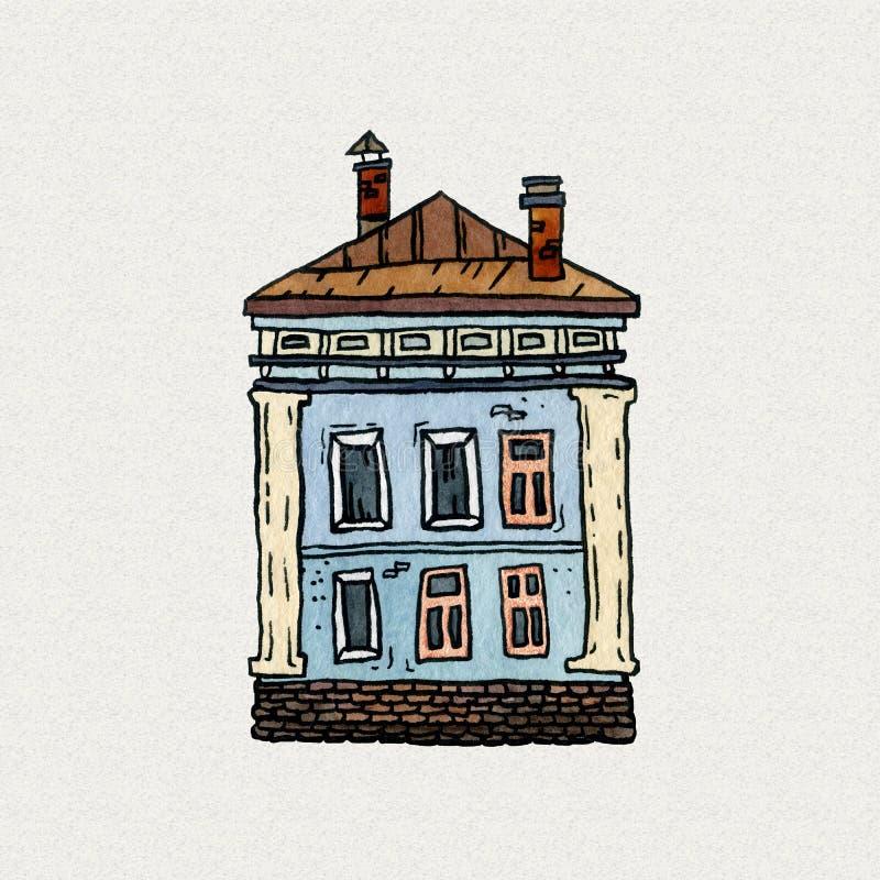 Ejemplo exhausto de la acuarela de la vieja mano de la ciudad del paisaje urbano Viejo paisaje de la ciudad con la torre, casas,  ilustración del vector