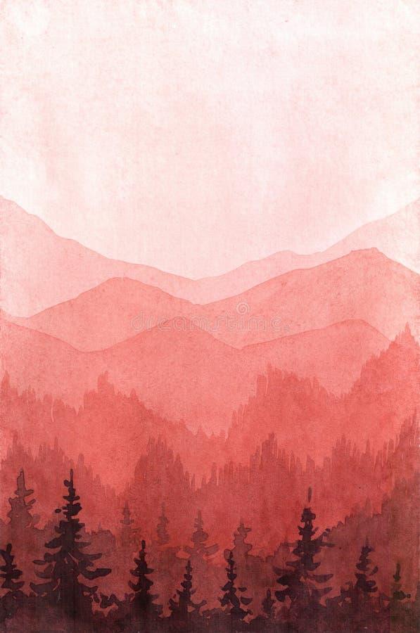 Ejemplo exhausto de la mano de la acuarela con el bosque y las monta?as libre illustration