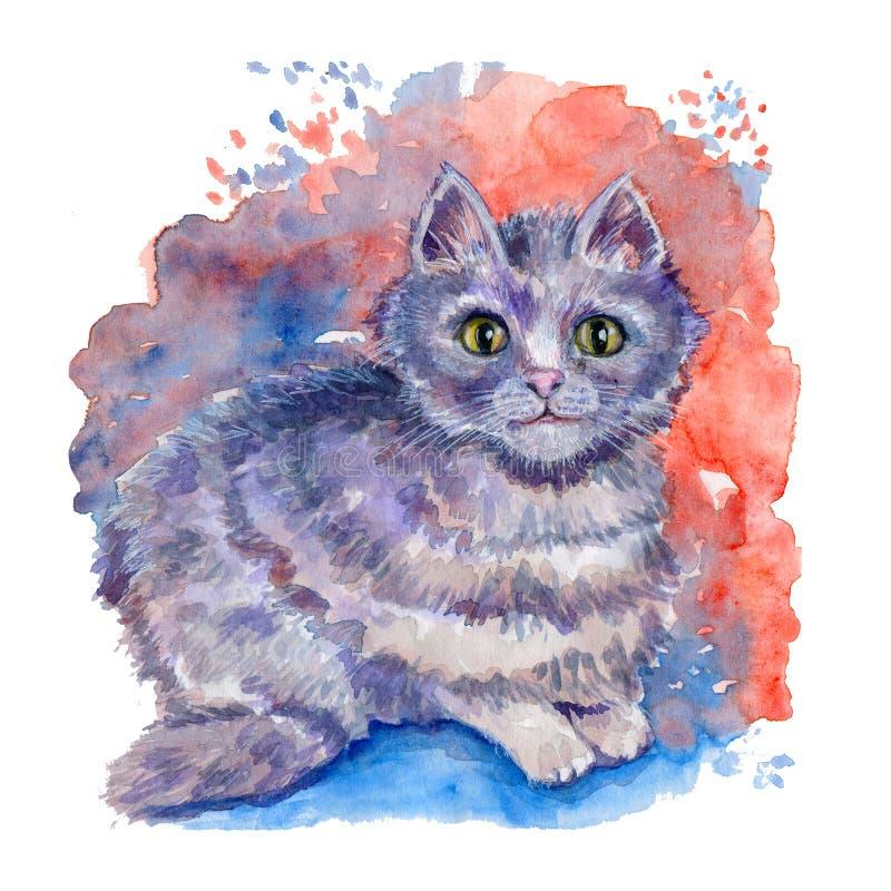 Ejemplo exhausto de la mano de la acuarela con el gato de gato atigrado gris en el fondo multicolor de la acuarela ilustración del vector